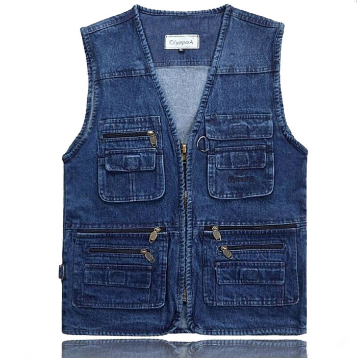 Latest Waistcoat Designs For Men Jeans Denim Vests Male With Multi Pockets Fashion Vest Men Sleeveless Jacket Fishing Vest,GA140