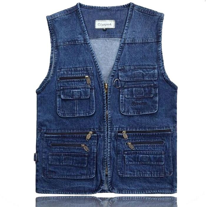 Latest Waistcoat Designs For Men Jeans Denim Vests Male With Multi Pockets Fashion Vest Men Sleeveless Jacket Fishing Vest,GA140