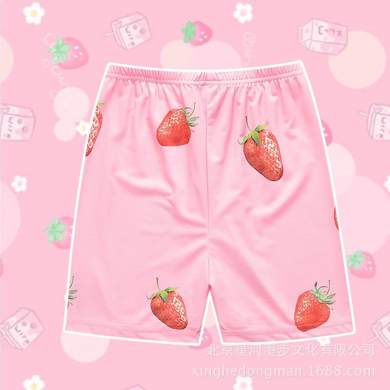 1 piece Anime Gintama Sakata Gintoki Cosplay Costume Kawaii Pink Strawberry Short Costume New pant Halloween Pajama Pants