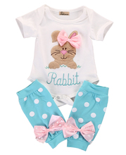 2pcs!!2017 New Toddler Kids Baby Girls Outfits Rabbit Short Sleeve Romper Top+Dot Bownot Leg Warmer Clothes Set