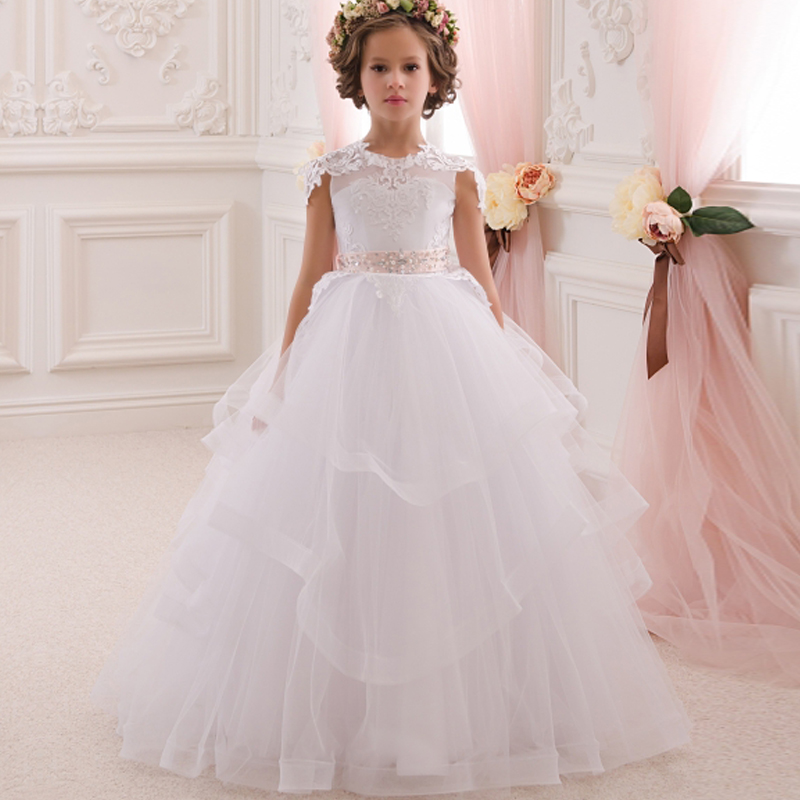 HOt Long Communion Dresses Appliques Crew Neck Sleeveless Ball Gown Back V Button Flower Girl Dresses for Wedding with Bow Sash