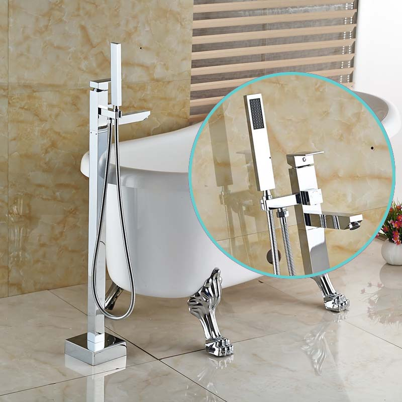 Bathroom Chrome Free Standing Clawfoot Bath Tub Filler Faucet Floor Mounted T
