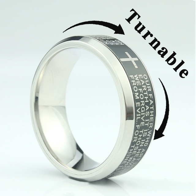 High Quality 8MM Jesus Cross Rings Letter Bible Wedding Band Ring Wedding Engage
