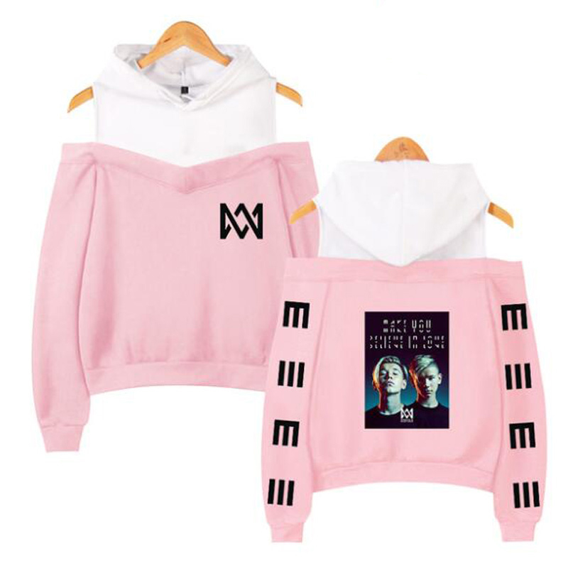 Twin Combination Marcus and Martinus Pink Hoodie Long Sleeve Off Shoulder Hooded Sweatshirts Streetwear Casual Women Pullovers