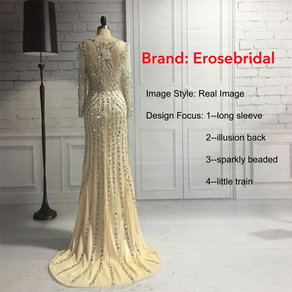 Erosebridal Mermaid Long Sleeve Evening Dress Long 2018 Sparkly Beads Sequined Formal Women Wear with Sweep Train Grey Champagne 6