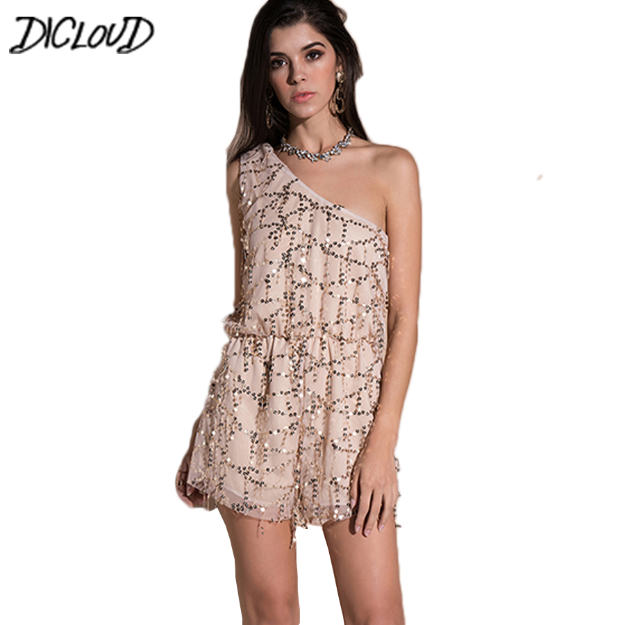 New Sexy One Shoulder Short Jumpsuit Women Fashion Sequin Playsuit Sleeveless Romper 2018 Summer Irregular Overalls Tops