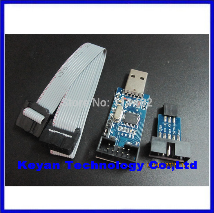 2PCS =1PCS YS-38 USBASP USB AVR Programmer For Atmel USB ASP USBISP ISP Bootloader NEW + 1PCS 10PIN TO 6PIN ADAPTER