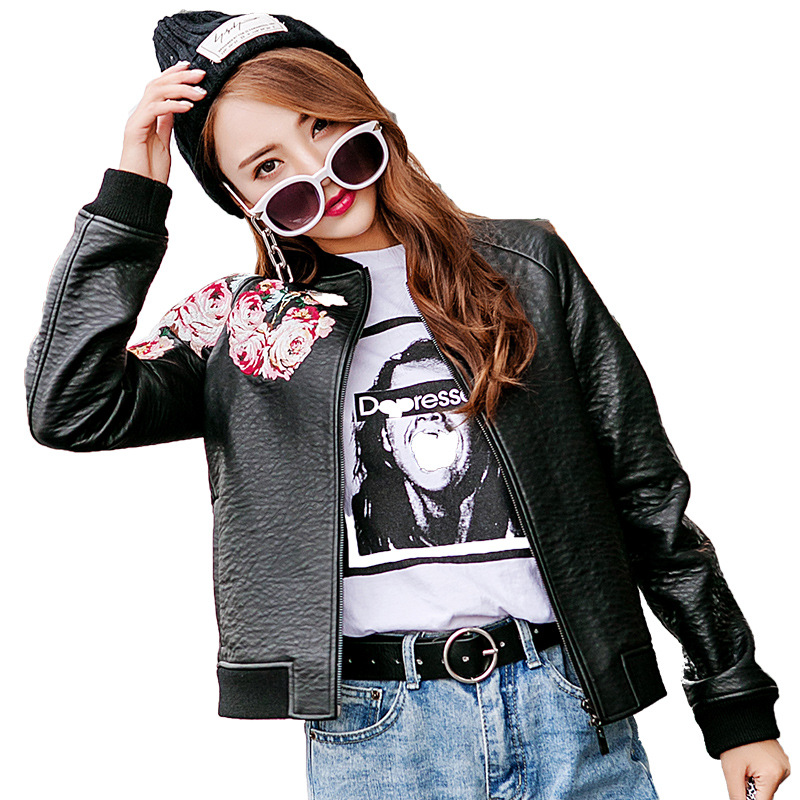 2019 New Spring Bomber Jacket Women Faux   Leather   Jacket Fashion Floral Embroidery Baseball   Leather   Coat Chaqueta Cuero Mujer