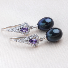 2018 Fashion Purple Austrian Crystal Drop Earrings Hot Selling 925 sterling silver Jewelry with Natural freshwater pearl Lindo