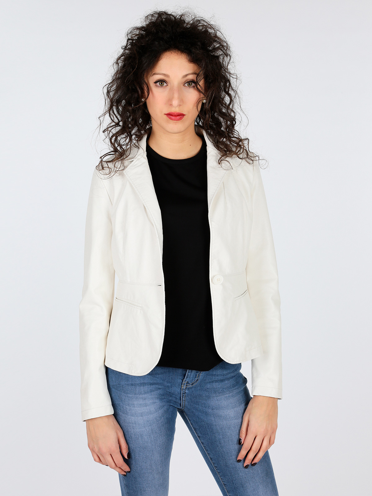 Faux Leather Jacket Blazer