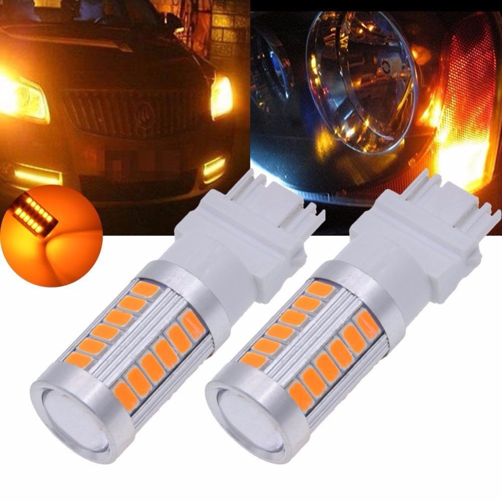 2Pcs Amber 3157 3457 3057 Signal 33SMD Backup Reverse Tail Turn <font><b>LED</b></font> Light Bulb For <font><b>Peugeot</b></font> 301 <font><b>208</b></font> image