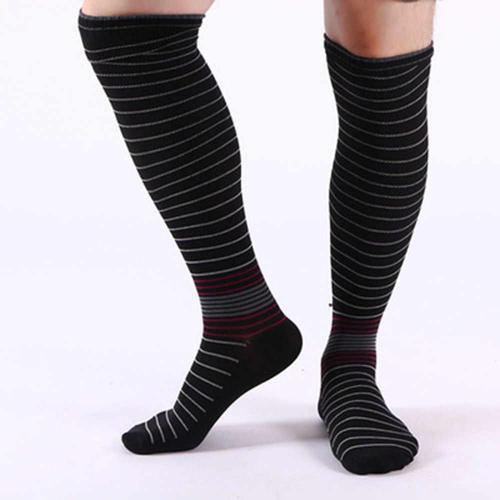 d9af5d4444 DROPSHIP 2018 New Arrival Comfortable Compression Sock Men Stripe Shin Knee  High Sock 6 Colors Gifts