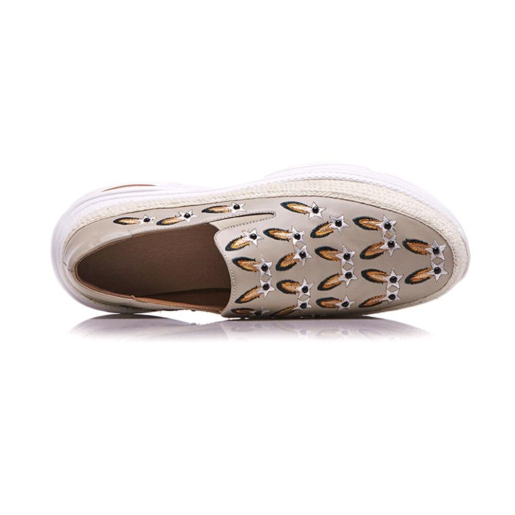 En Mocassins Apricot Plate on forme Femme Mode Slip Décontracté 2019 noir Cuir Véritable Broder Plates Automne Sarairis Chaussures Dady Pour Femmes 0FzqSW