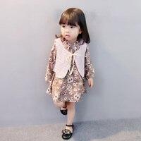 2018 Nowy Koreański Dziewczynek Odzież Ustaw Dzieci Drutach Szwy Floral Dress + Kamizelka Kurtka Garnitur 2 sztuk Ubrań Dla Dzieci zestaw Garnitur S2
