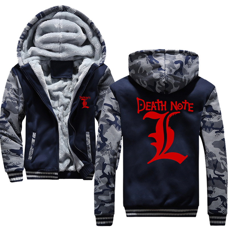 DEATH NOTE L Men Hoodies Male Warm Thick Velvet Sweatshirt Tracksuit Men Hoodies And Sweatshirts Jacket
