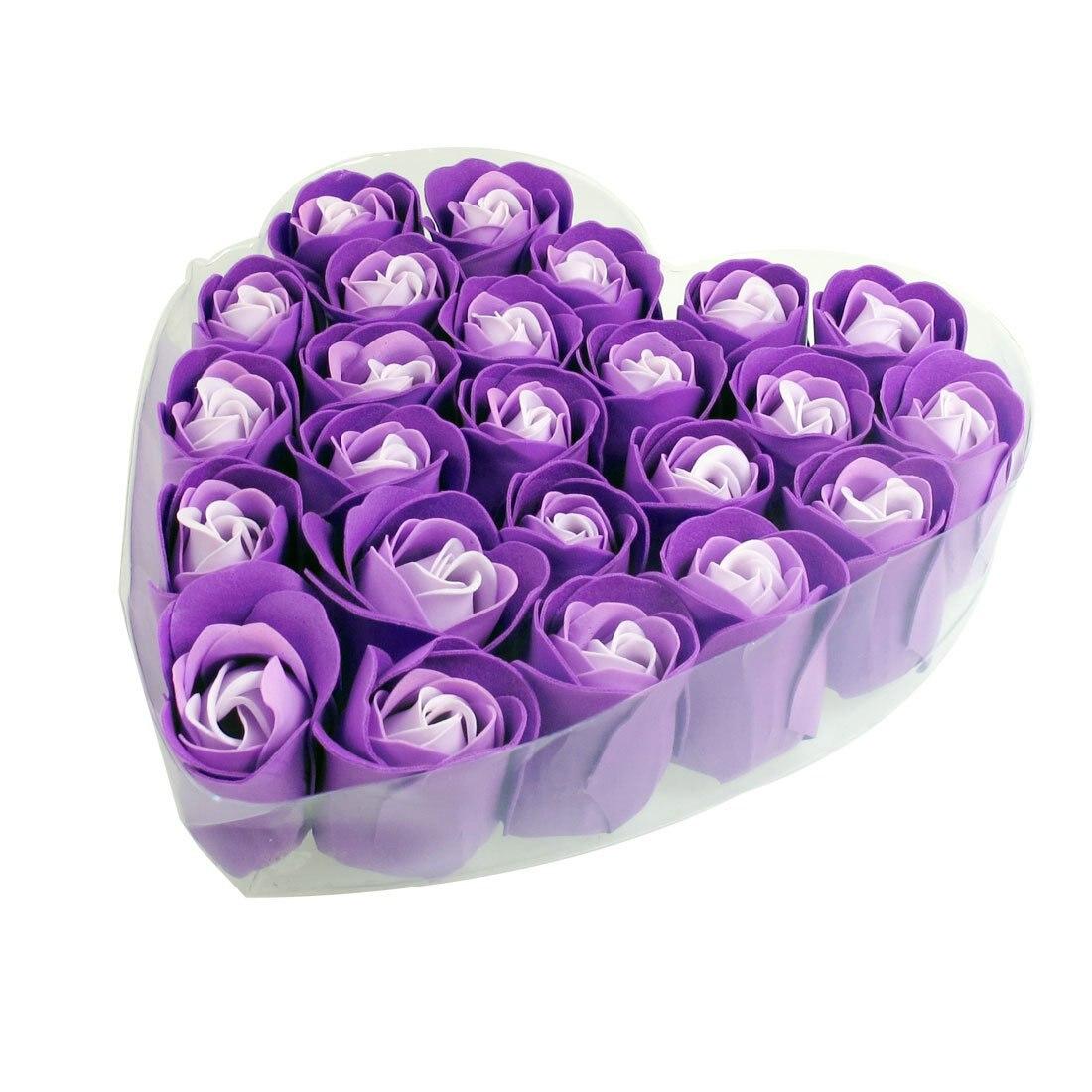 New  24 Pcs Purple Scented Bath Soap Rose Petal In Heart Box