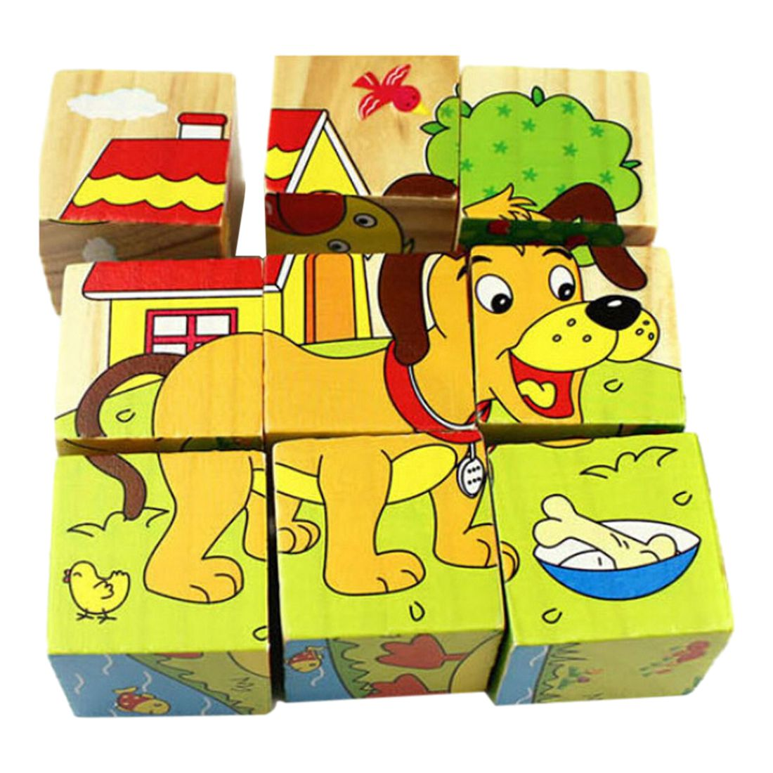 Kids Baby 3D Animals Cube Puzzle Toys Cartoon -5698