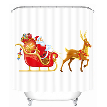 Merry Christmas Santa Claus and Elk Shower Curtains Bathroom Curtain Waterproof Thickened Bath Curtain Customizable santa claus and gifts printed waterproof shower curtain