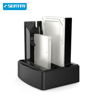 Sata II to USB3.0 dual bay 2.5/3.5 SSD/HDD hard disk docking station support off line clone function for Laptop Mac desktop