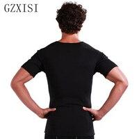 Men's Thermal Body Shaper Slimming Shirt Sweat Compression Slim Shirt Neoprene Waist Trainer Breathable Slim V neck T Shirt