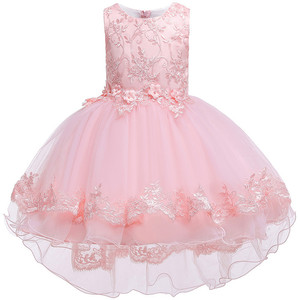 Image 2 - Children Birthday Clothing Embroidery Lace Big Bow Baby Girl Dress for Wedding Party Kids Dresses for Girls Trailing Dress
