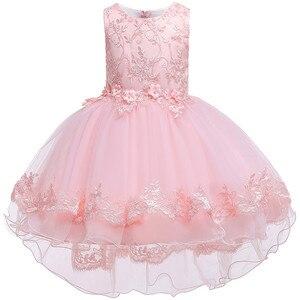Image 2 - Kinder Geburtstag Kleidung Stickerei Spitze Großen Bogen Baby Mädchen Kleid für Hochzeit Kinder Kleider für Mädchen Hinter Kleid
