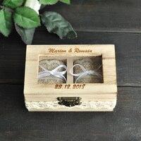 Gepersonaliseerde Trouwring Box Dubbele Ring Box Rustieke Sieraden Trouwring Houder