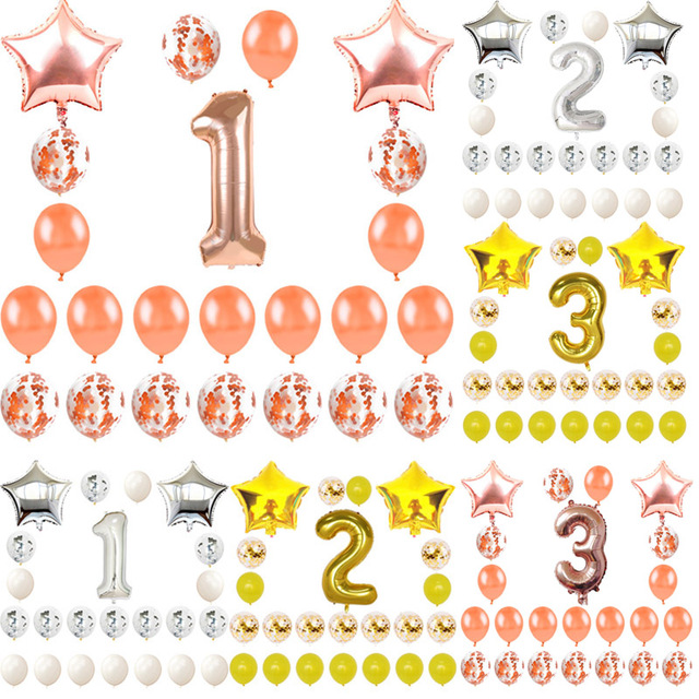 1st Birthday Decorations Balloons 1 2 3 Year Baby Boy Girl Party Kids Rose Gold Balloon Supplies