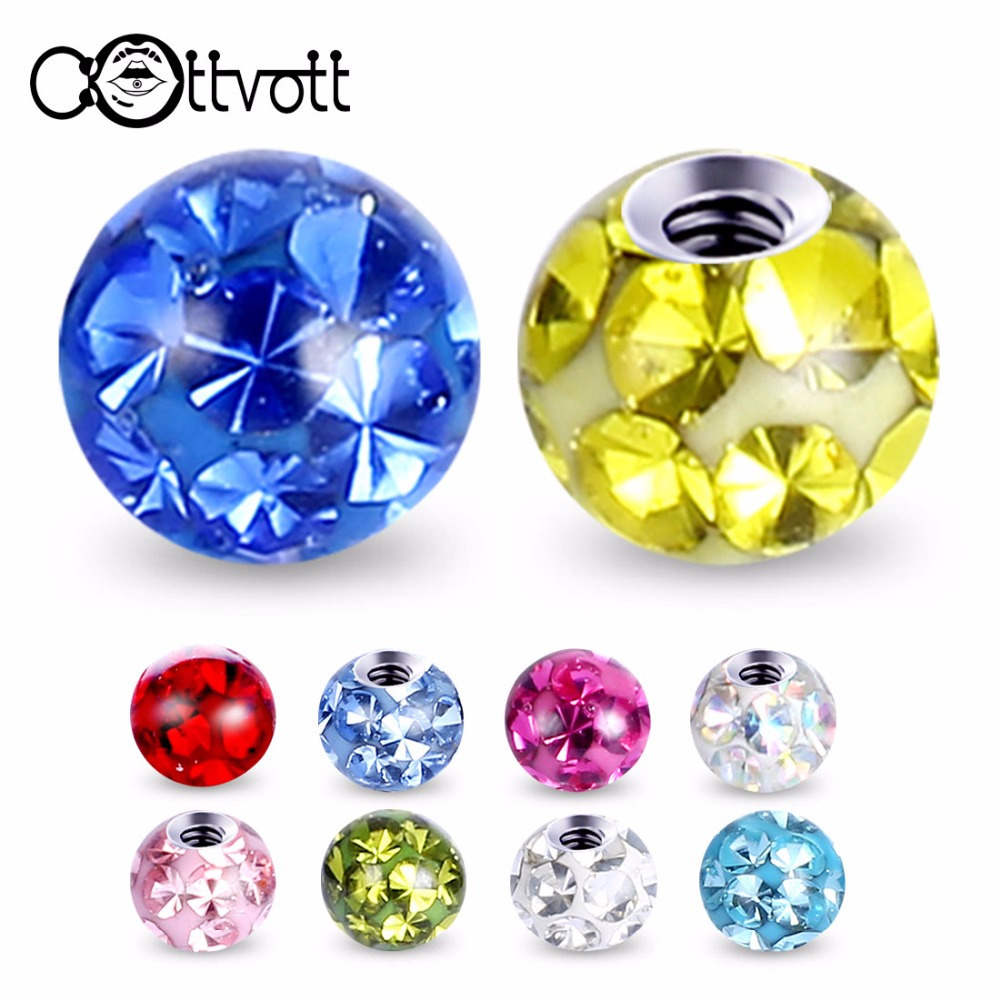 Lip-Labret Jewelry-Parts Ear-Rings Eyebrow Crystal Body-Piercing Epoxy 316l-Stainless-Steel
