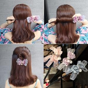 New Women Elegant Flower Bow Donut Bun Maker Sweet Big Pearls DIY Hair Style Making Tool Fashion Style Headband Hair Accessories
