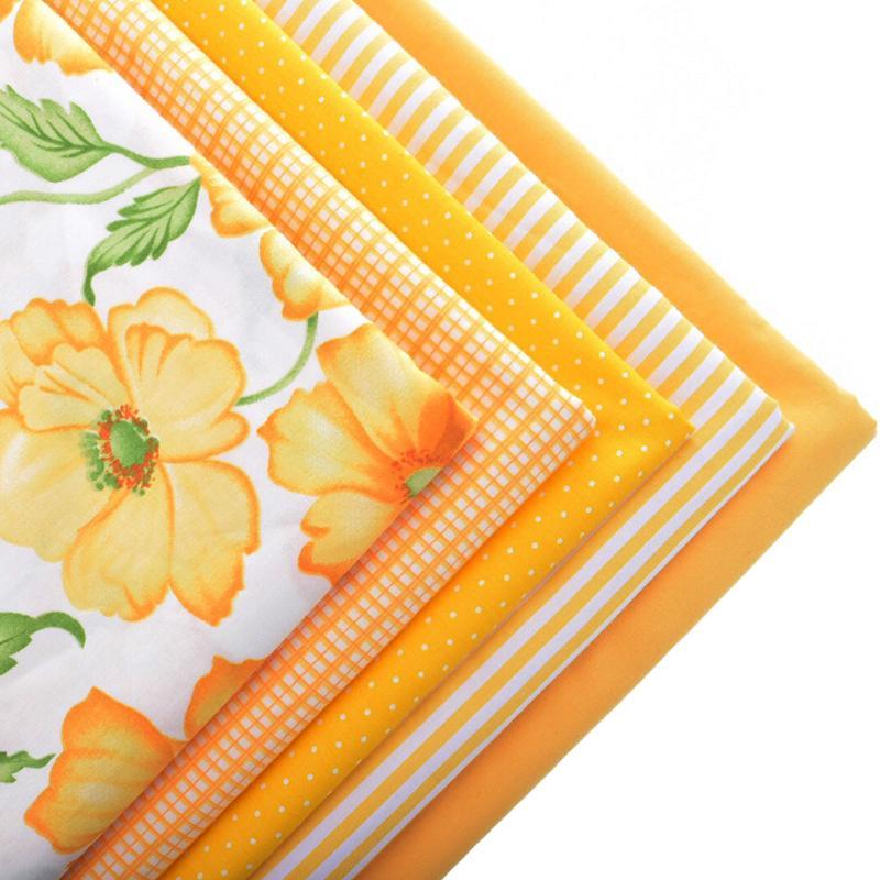Pamut szövet szövet kézimunka varrására Anyag Hometextile lap ruha ruha párna Doll táskák 5db sárga 40cmx50cm