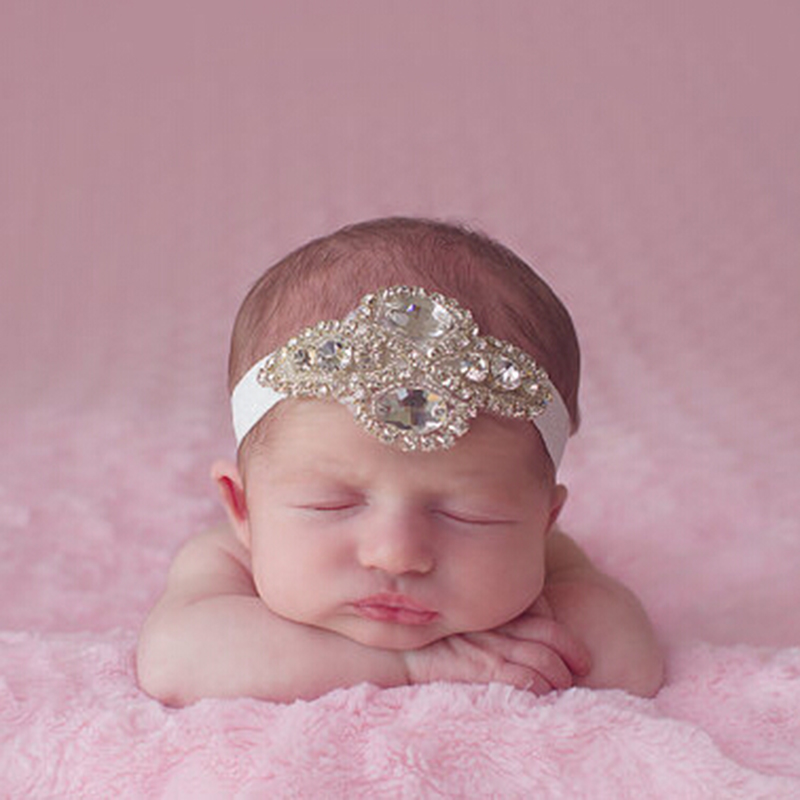 1 PC New Kids Rhinestone Headband for Photo Props Newborn Girls Headband Flower Hair Bands Beautiful Newborn Hair Accessories newborn flowers feather pearl headband kids flower lace headband headwrap hair bands hair accessories photography props gift