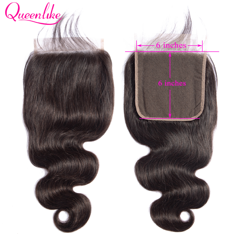 Queenlike Body Wave 6x6 Closure Pre Plucked With Baby Hair Natural Hairline Brazilian Remy Hair Big Lace Size Swiss Lace Closure(China)