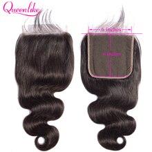 Волнистые волосы Queenlike 6x6, предварительно выщипанные Детские волосы, естественные волосы, бразильские волосы Remy, большие кружевные швейцарские кружевные застежки