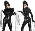 Mais novo Escravidão Traje Do Gato Halloween Fantasias Adulto Mulheres de Couro Bodysuit Látex Traje Catwoman Adultos Catsuit Jumpsuit Da Senhora