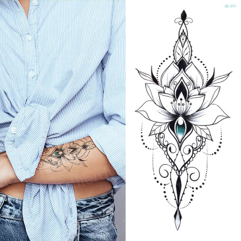 Mandala Lotus Flower Tattoo Mehndi Henna Stickers For Hands Sexy Arab Tattoo Black Sketches Tattoo Designs Waterproof Body Art