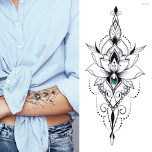 mandala lotus flower tattoo mehndi henna stickers for hands sexy arab black sketches designs waterproof body art