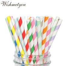 WISHMETYOU 25Pcs Colorful Disposable Paper Straws Vintage Stripe Drinking Decor Birthday Christmas Party Supplies