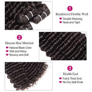 Image 4 - 브라질 딥 웨이브 번들 100% 인간의 머리카락 3 묶음 레이스 클로저 레미 헤어 위브 더블 weft ruiyu 헤어