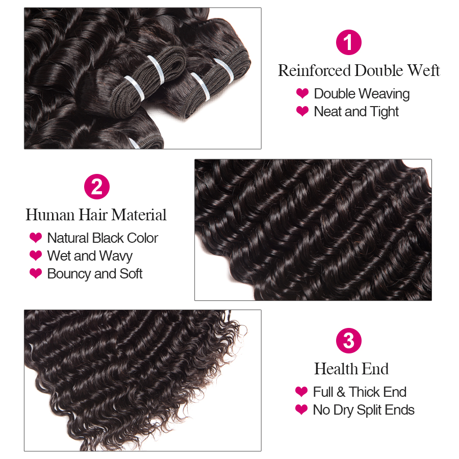 Image 3 - Brazilian Deep Wave Bundles With Closure 100% Human Hair 3 Bundles With Lace Closure Remy Hair Weave Double Weft RUIYU Hair-in 3/4 Bundles with Closure from Hair Extensions & Wigs