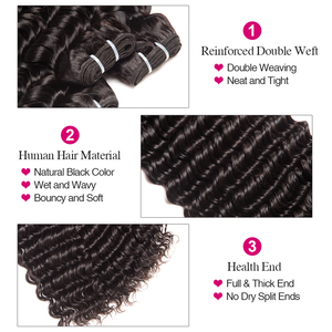 Image 4 - Deep Wave Bundles With Closure 100% Human Hair Bundles With Closure Brazilian Hair Weave Bundles RUIYU Remy Hair Extension