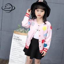 YAUAMDB kids sweaters 2018 winter knitwear 4-11Y girls cardigan rainbow clothing O neck cartoon children pocket clothes ly50(China)