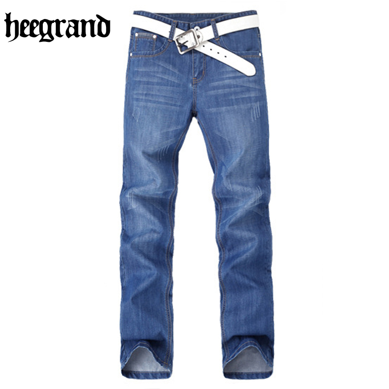 HEE GRAND 2017 British Style Mens Fashion Jeans Straight Fit Knee Length Pius Size Solid Jeans MKN980 hee grand 2017 british style plus size men solid jeans full length straight mid waist comfortable male jeans mkn858
