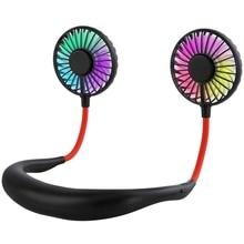 Hand Free Usb Personal Fan- Portable Handheld Mini Led Fan Headphone Design Neckband Fan Internal Rainbow And White Light, 3 S