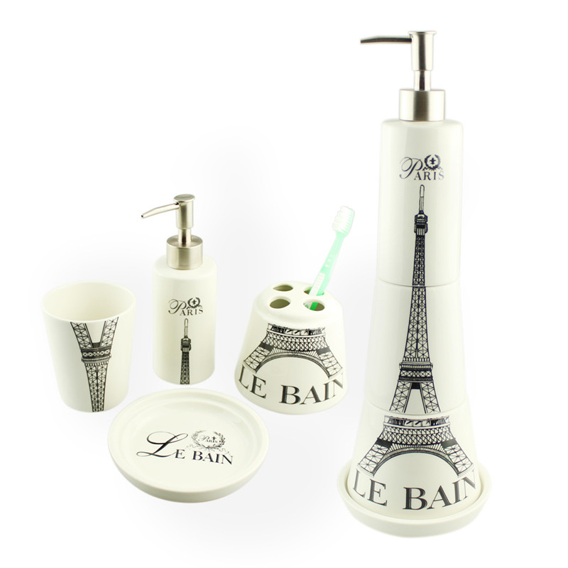 1 Set Ceramic Eiffel Tower Z Bath Accessory Soap Dispenser Pump Toothbrush Holder Tooth Cup Dish 4pcs Sjt0002 In Sanitary Ware Suite From