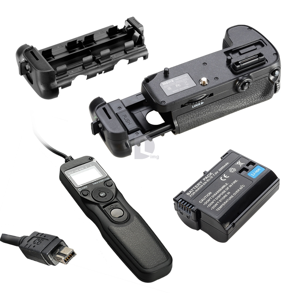 Original Meike as MB-D15 Vertical Battery Grip for Nikon D7100 + Decoded as EN-EL15 Battery + N3 Timer Remote Shutter for D7100 new vertical battery grip pack 2x en el14 decoded battery for nikon d3100 d3200 d3300 camera 2 step shutter free shipping