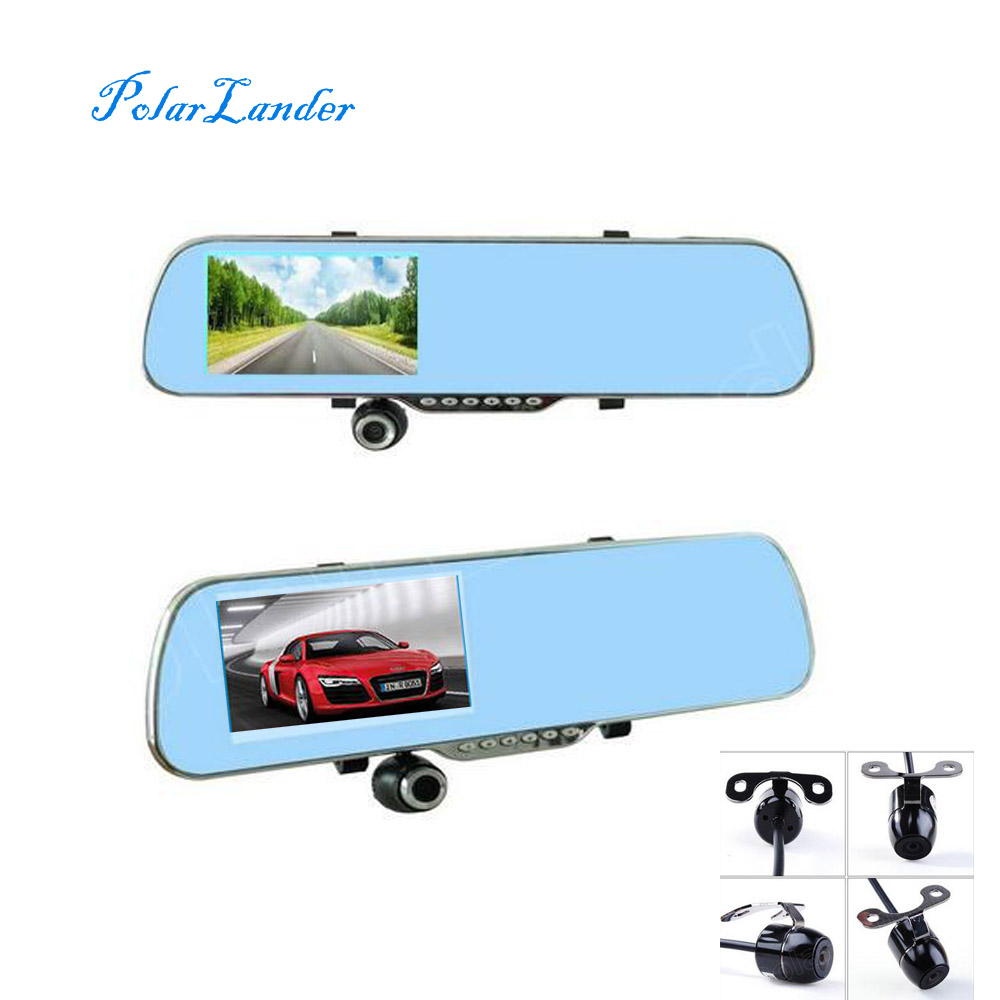 4.3 Inch Review Mirror Car DVR include rear Camera Reverse night vision dual lens camcorder dash cam video recorder driving image