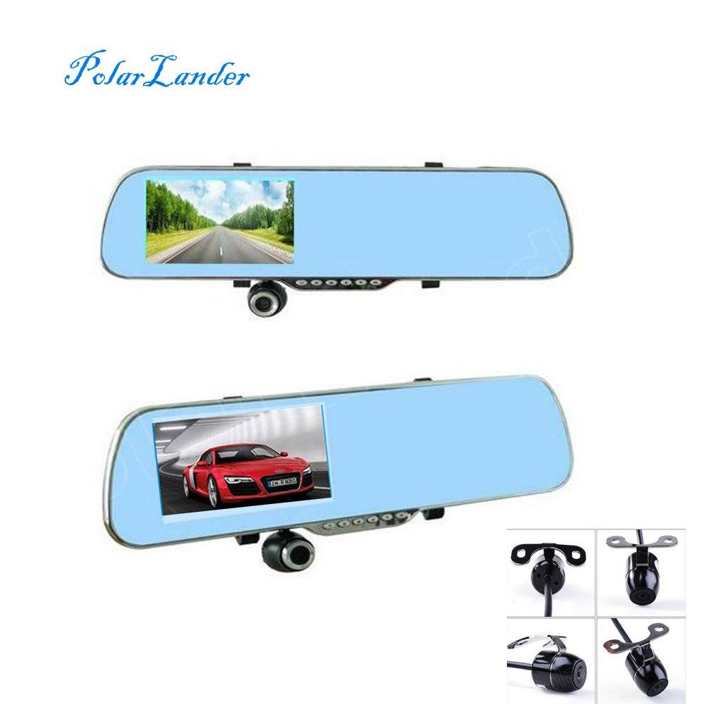 4,3 pulgadas espejo de revisión DVR de coche incluye cámara trasera de visión nocturna inversa de doble lente videocámara dash cam video grabadora de conducción