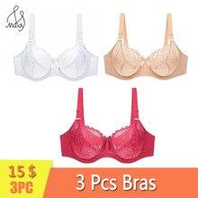 Maidy 3Pcs/Pack Women Lace Bra Unlined No Padded Bras Sexy Transparent Underwear Ladies Brassiere Big Size 34-48 D-DD-DDD-F