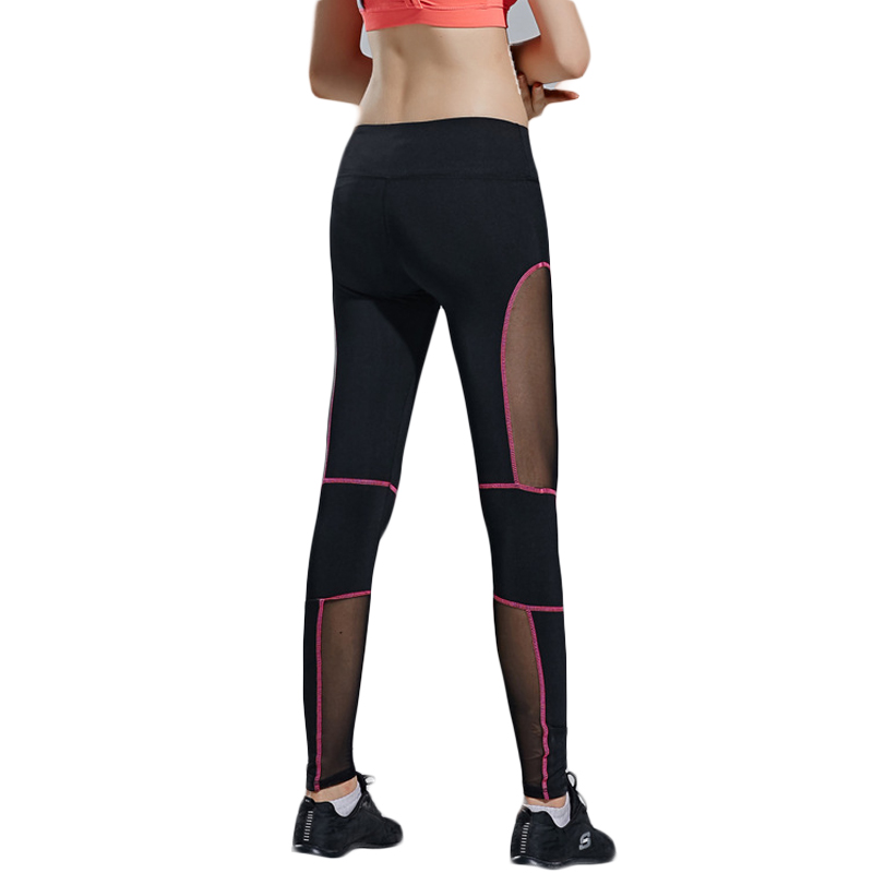 Candy color Patchwork Mesh yoga pants women Sexy sports clothing fitness slim yoga leggings slim hole patchwork leggings